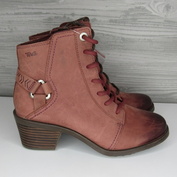 Foxy Lace Up Ankle Boots Redwood Color